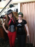 Meet Bob, the coolest ever. We're hanging out at Dark Garden as she picks up her custom maternity corset. My hat is by House of Nines Design -- custom!